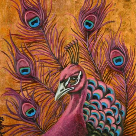 Original Animal Painting by Leah Saulnier   Figurative Art on Canvas   Pink Peacock