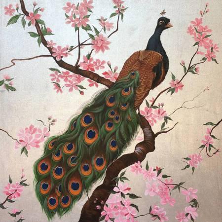 Original Animal Painting by Nannapha Aiamlaaiad | Fine Art Art on Canvas | Peacock Painting