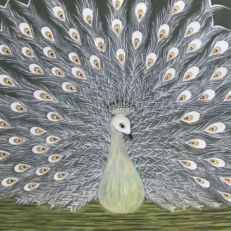 Original Animal Painting by Tatia Tsindeliani | Figurative Art on Canvas | Peacock