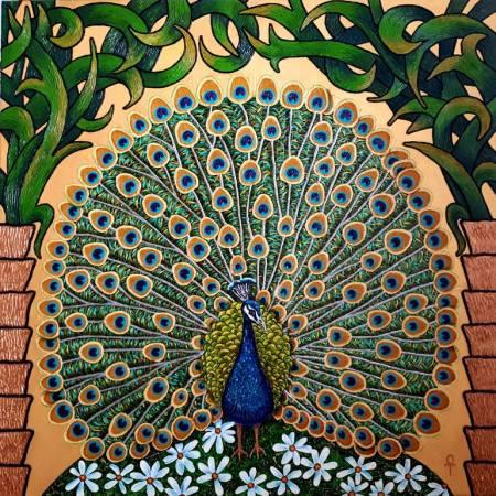 Original Animal Painting by Tatyana Orlovetskaya | Art Deco Art on Canvas | Golden peacock