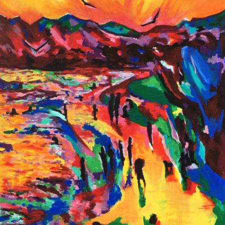 Original Beach Painting by Tara Elizabeth | Expressionism Art on Canvas | UNDER THE SUN...MILES AND MILES