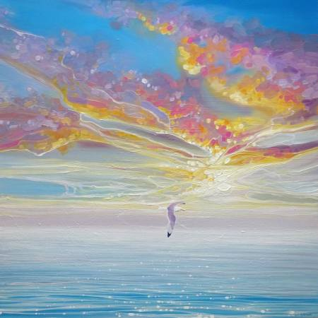 Original Seascape Painting by Gill Bustamante | Abstract Art on Canvas | Sky Drama - a seascape skyscape painting