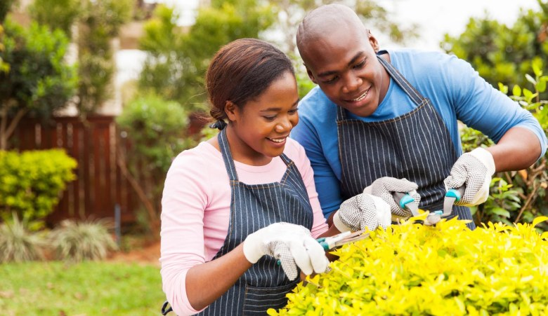 african couple pruning plant in home garden