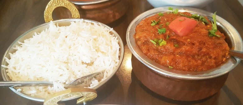 Baingan Bharta and Rice