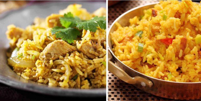 Kenyan Pilau - meat and vegan_