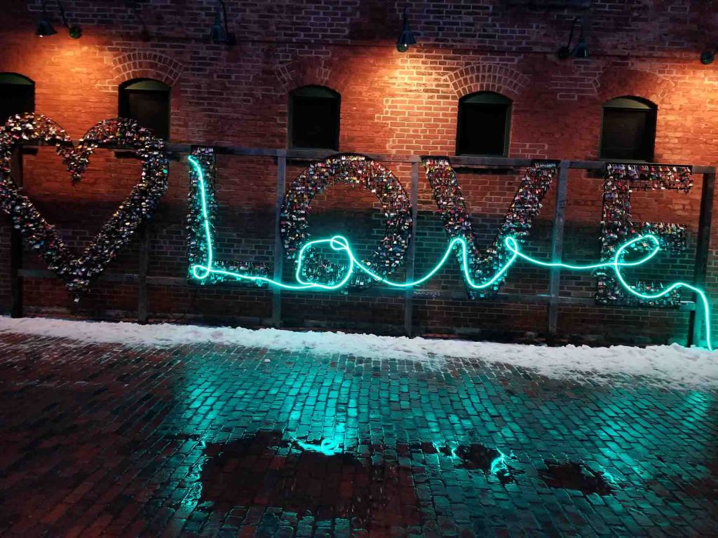 Love sign from the Distillery District, Toronto