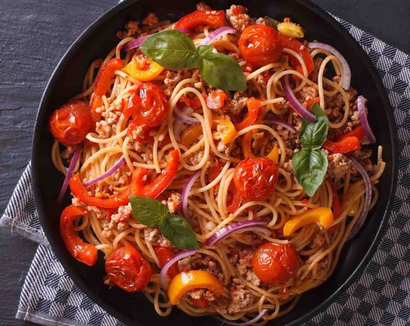 Ground tofu spaghetti