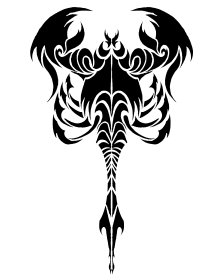 Black work tribal scorpion