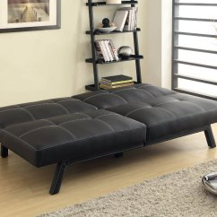Black Vinyl Futon Sofa Granada Garden Rattan Corner Dining Set With Table Home Decor