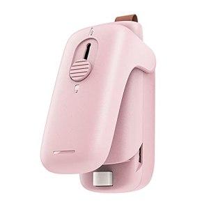 GINMIC Mini Bag Sealer,2 In 1 Heat Sealer & Cutter,Handheld Bag Heat Vacuum Sealer, Food Protector , Used For Sealing Plastic Bags To Store Snacks Portable Sealing Machine (Pink)
