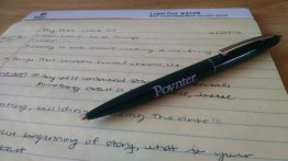 Pages upon pages of my free Poynter notebook were filled using my free Poynter pen.