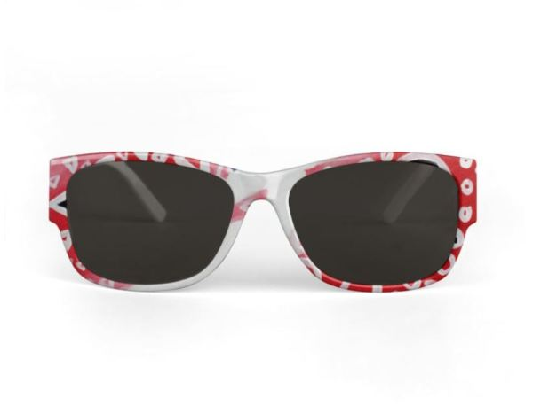 Sunglasses front view wayfarer with white frame and red accents