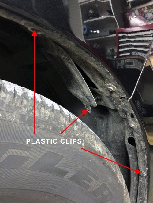 small resolution of luckily on the 2016 ram 1500 removing the inner fender liner is easily done by carefully popping out the reusable plastic clips shown below