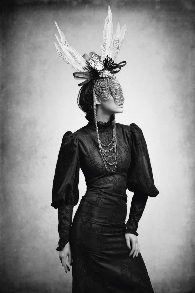 'Lace Noir' features black lace garments in Victorian silhouettes. Photographer – David Stanton, Model -Victoria Middleton