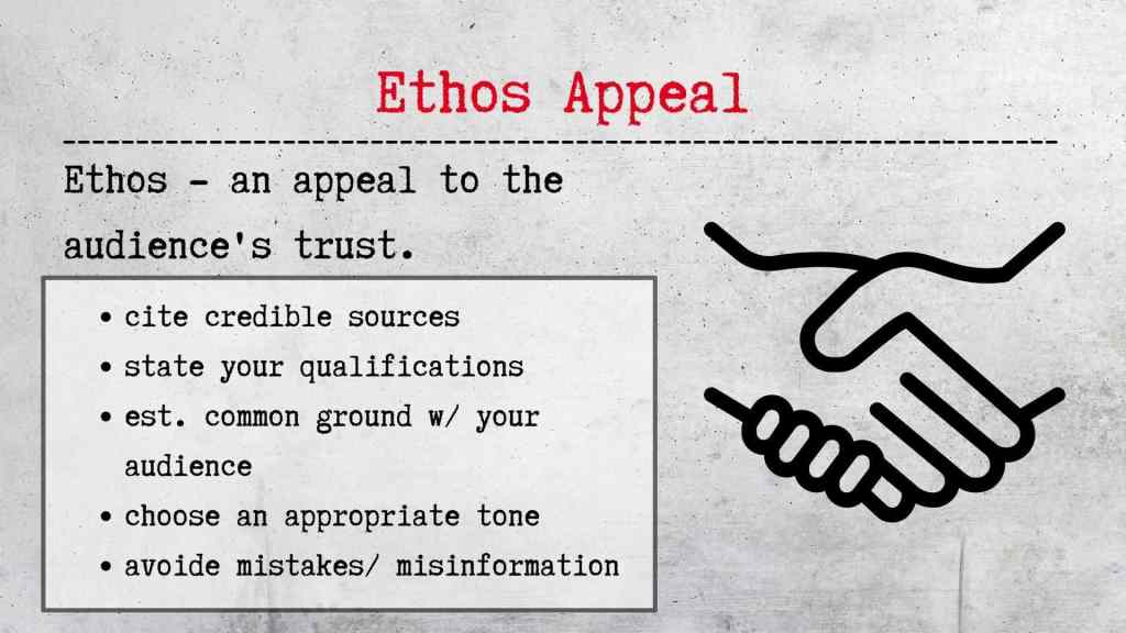 rhetorical appeals- ethos appeal