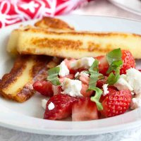 Finnish Bread Cheese with Strawberry Salsa