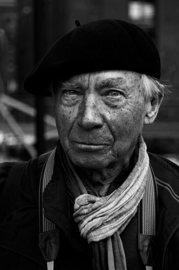 Old man at Hafencity in Hamburg