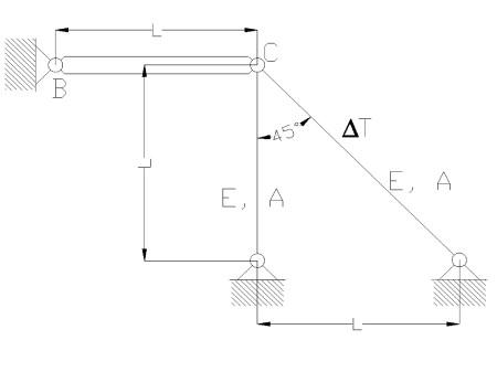 rozciaganie6 - Odkształcenie temperaturowe w układzie prętowym - zadanie 18