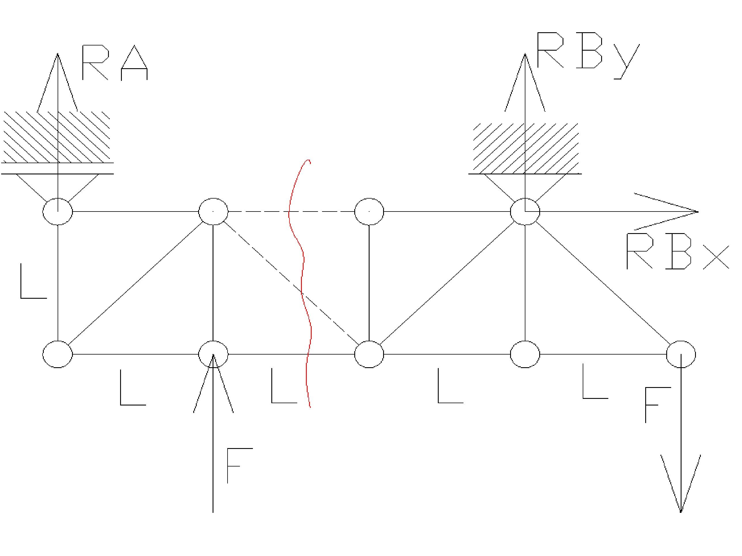 rozciaganie17 - Kratownica - metoda przecięć - statyka -zadanie 28