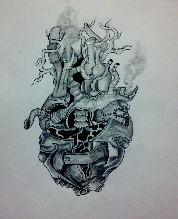 Steampunk Heart Tattoo Drawing