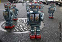 "Performance Artoo: Artist Javier Tellez\""™s 500-strong regiment of foot-tall robots stands ready to make its wacky statement"