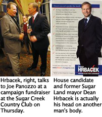"U.S. House candidate and former Sugar Land mayor Dean Hrbacek""™s head on another man\""™s body"
