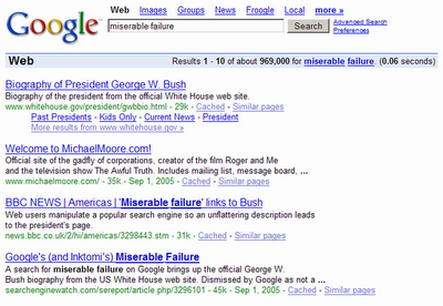 Google bomb Miserable Failure