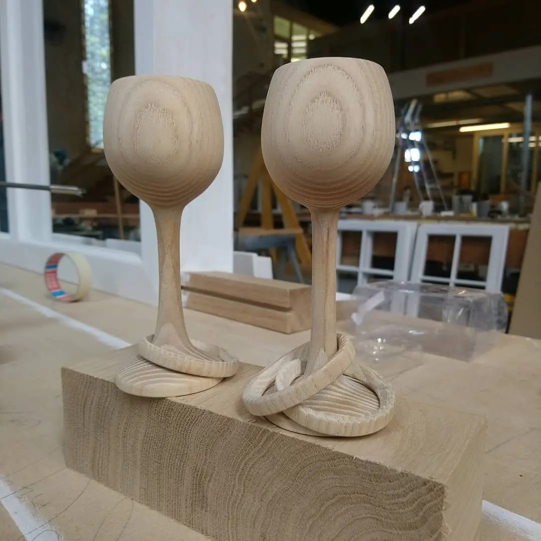 Captive Ring Woodturned Goblets