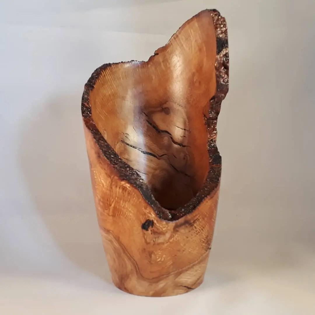 Live edge wood turned oak burr vase