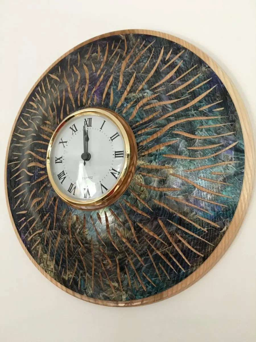 Ash wood woodturned clock.