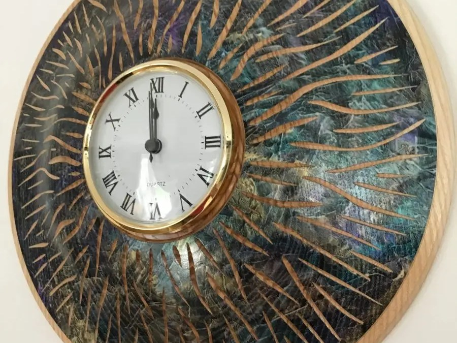 Ash Woodturned Decorated Clock