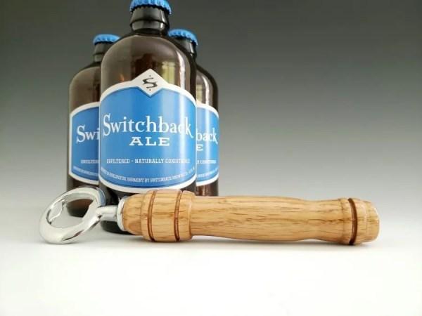 Oak wood turned handmade bottle opener