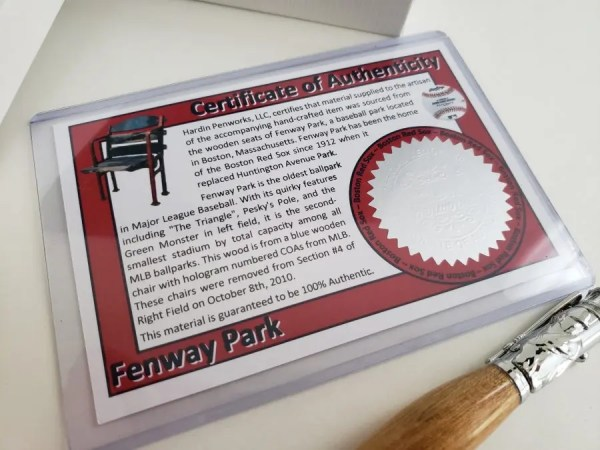 Unique Red Sox gift wooden pen made with Fenway seating, Certificate of Authenticity included.