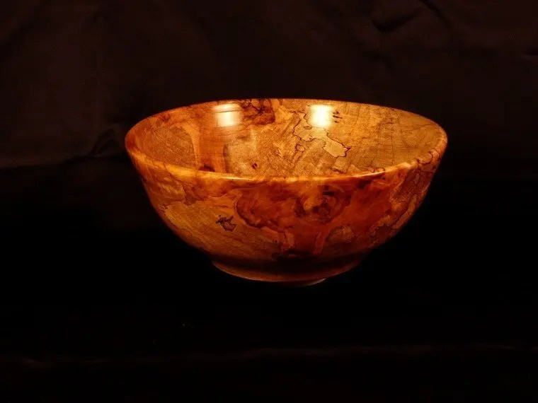 Spalted crimson maple tree wood bowl.