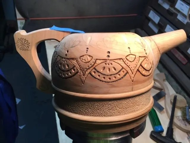 Cherry wood turned tea pot