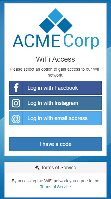 Example captive portal with multiple Social Auth providers, iPhone, Facebook and Instagram