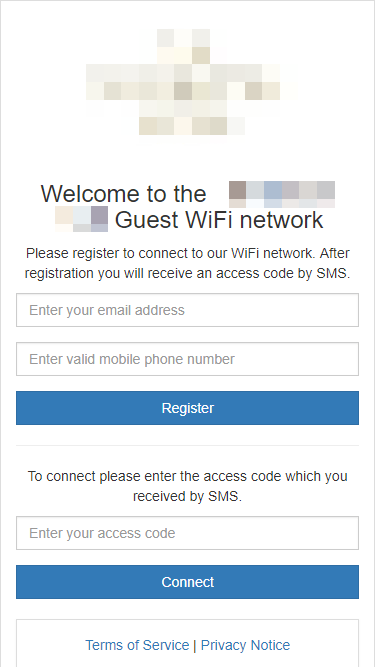 Example captive portal with different registration options combined, iPhone