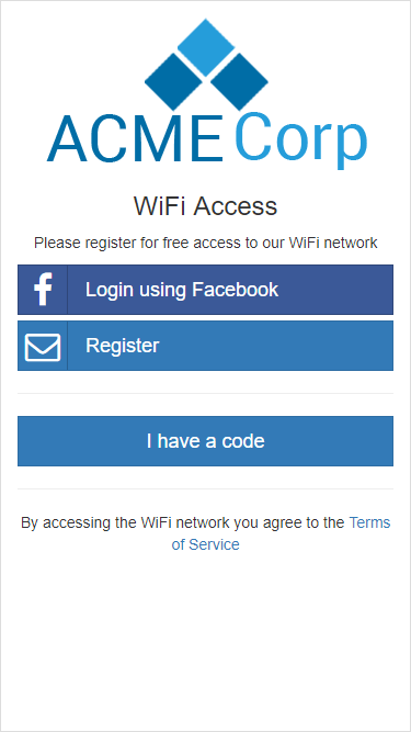 The captive portal splash page where user can choose from the available options