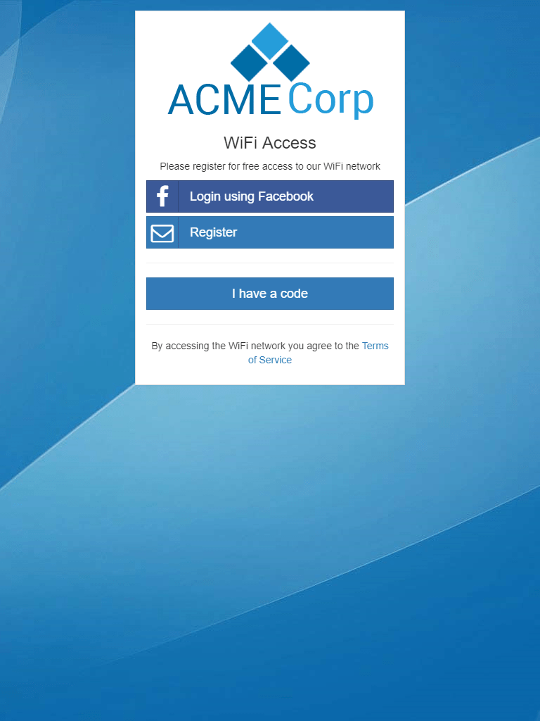 The captive portal splash page as displayed on an iPad-sized screen