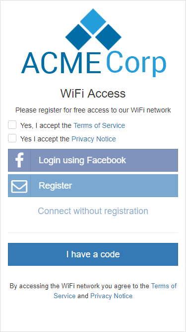 The captive portal splash page with mandatory acceptance of Terms of Service and Privacy Notice
