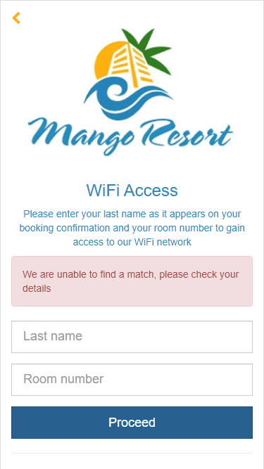 No current booking was found for last name and room number