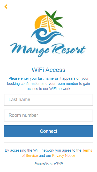Hotel guest login form