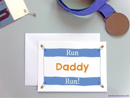 Card for dad runner, father run card, daddy race card, good luck dad event, 5k, 10k, half marathon, marathon, ultra, tri, triathlon, ultra