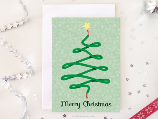 shoelace Christmas tree card