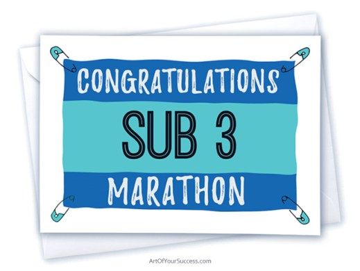 sub 3 marathon congratulations card