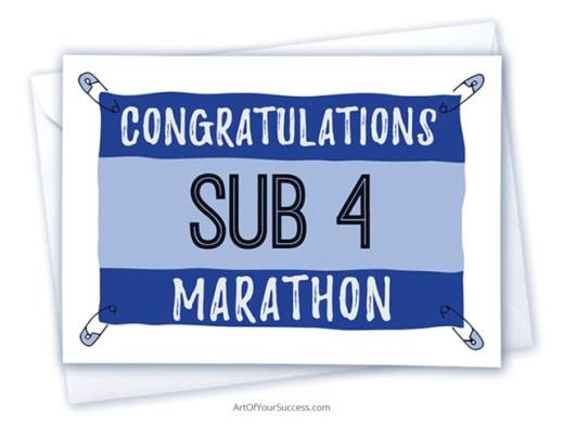 sub 4 marathon congratulations card