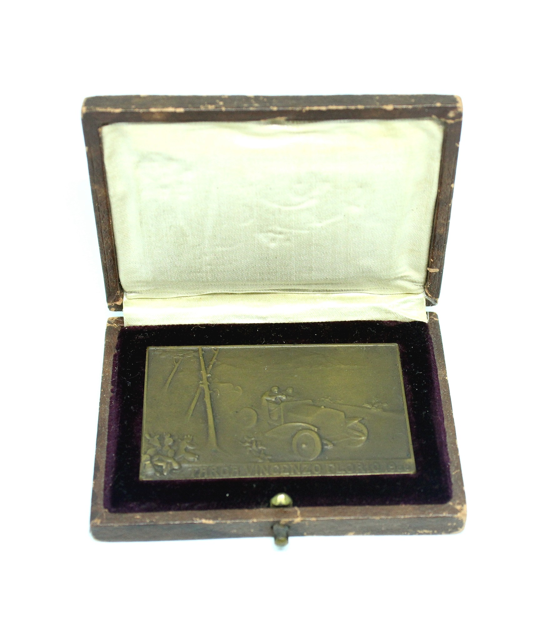 1906 Targa Florio Competitor's plaque in case by Lalique