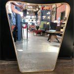 Oversized Italian Minimal Curvilinear Brass Mirror 1950s