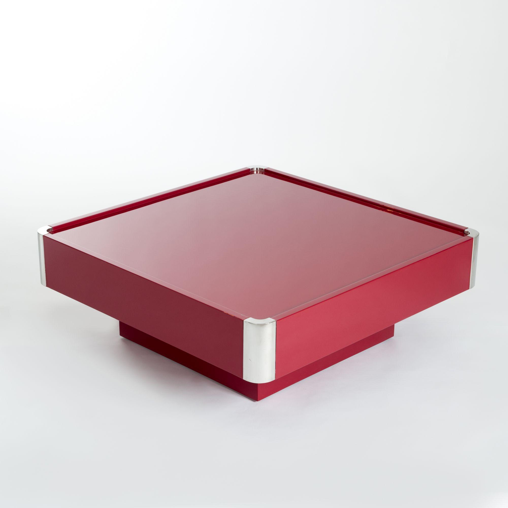 midcentury italian square dark red