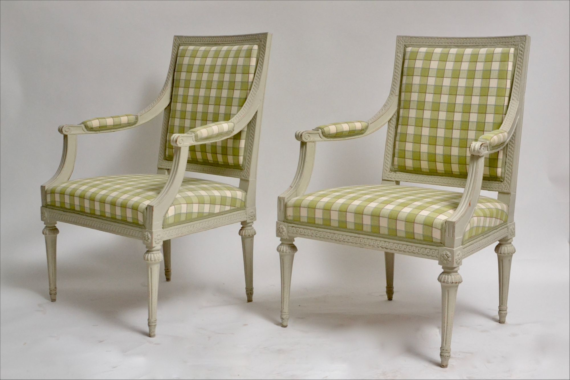 grey painted chairs desk chair near me pair of gustavian arm